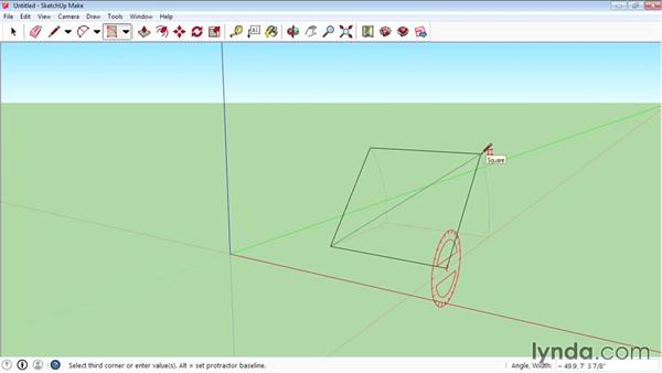 Creating rotated rectangles: SketchUp 2015 Essential Training
