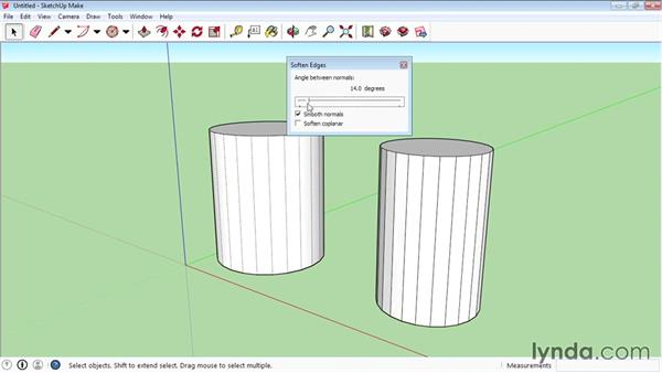 Softening and smoothing edges: SketchUp 2015 Essential Training