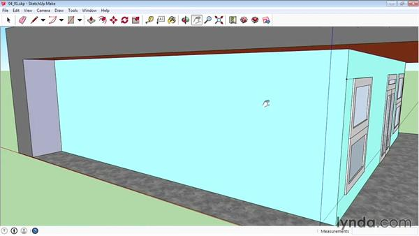 Using the Tape Measure to create guidelines: SketchUp 2015 Essential Training