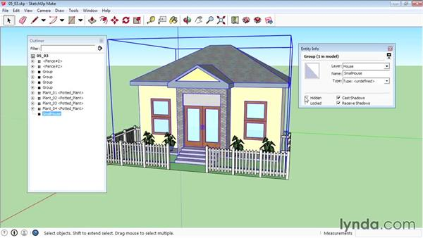Using the Outliner and Entity Info: SketchUp 2015 Essential Training