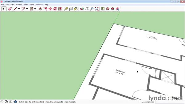 Creating a floor plan using bitmap images: SketchUp 2015 Essential Training