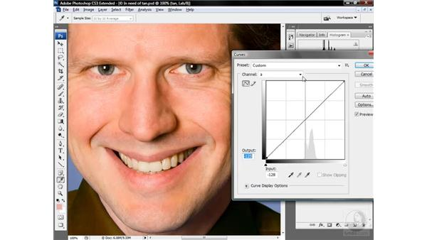 Tanning and deepening skin tones: Photoshop CS3 Mastering Lab Color