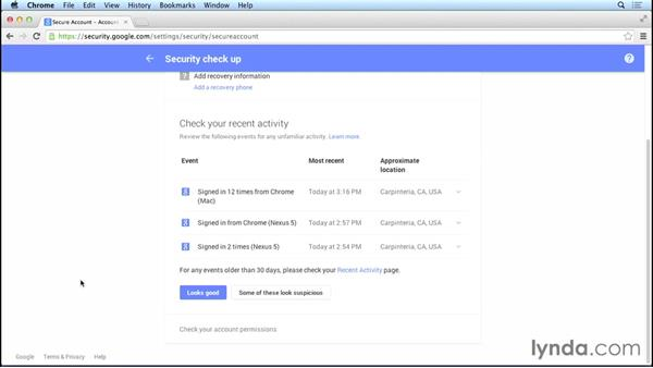 Running the security checkup: Creating and Managing Your Google Account