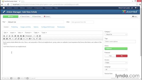 Creating and editing individual articles: Joomla! 3.3 Essentials: Working with Content