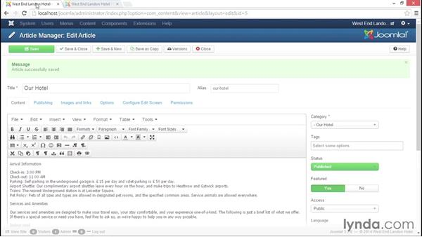 Adding formatting options in TinyMCE and formatting an article: Joomla! 3.3 Essentials: Working with Content