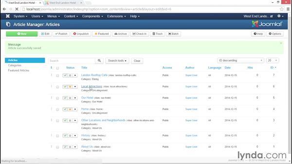 Adding an internal link: Joomla! 3.3 Essentials: Working with Content