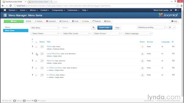 Reordering menu items: Joomla! 3.3 Essentials: Working with Content
