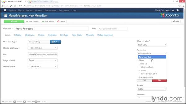 Configuring category blogs: Joomla! 3.3 Essentials: Working with Content