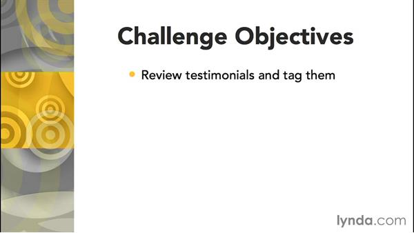 Challenge: Create a testimonials page with tags: Joomla! 3.3 Essentials: Working with Content