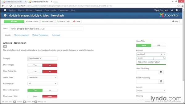 Using {loadposition} to include a module in an article: Joomla! 3.3 Essentials: Modules, Components, Extensions, and Templates