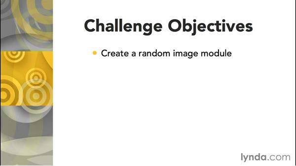 Challenge: Create a random-image module: Joomla! 3.3 Essentials: Modules, Components, Extensions, and Templates