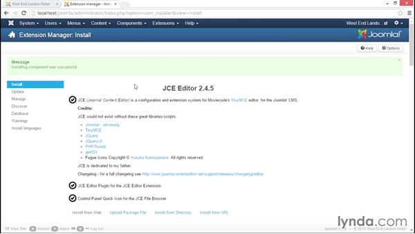 Installing and configuring Joomla! Content Editor (JCE): Joomla! 3.3 Essentials: Modules, Components, Extensions, and Templates