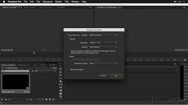 Removal of speech analysis and how to access the speech-analysis tool: Premiere Pro: Creative Cloud Updates