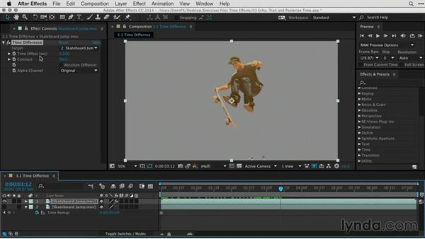 Creating a matte using Time Difference: After Effects Guru: Time-Based Effects