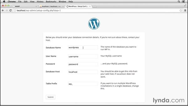 Configuring WordPress and MAMP to work together: Installing and Running WordPress: MAMP