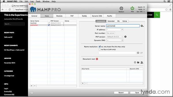Creating new hosts: Installing and Running WordPress: MAMP
