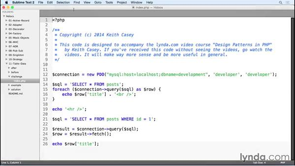 Challenge: Apply the table data gateway pattern: Design Patterns in PHP