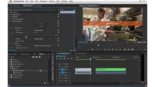Stabilizing shaky footage in Premiere Pro: Video Post Tips Weekly