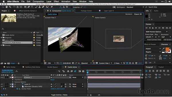 Positioning while animating the camera and layers together: Motion Control 3D: Bringing Your Photos to Life in Three Dimensions with Photoshop and After Effects CC