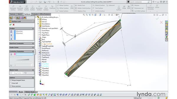 Surface lofting the profiles: Modeling a Bicycle Frame with SOLIDWORKS