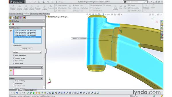 Advanced lofting and filling: Modeling a Bicycle Frame with SOLIDWORKS