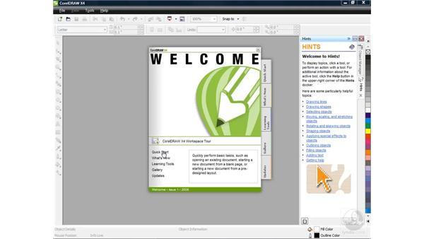 The Welcome screen: CorelDRAW X4 Essential Training