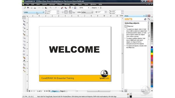 Opening files and touring the new user interface: CorelDRAW X4 Essential Training