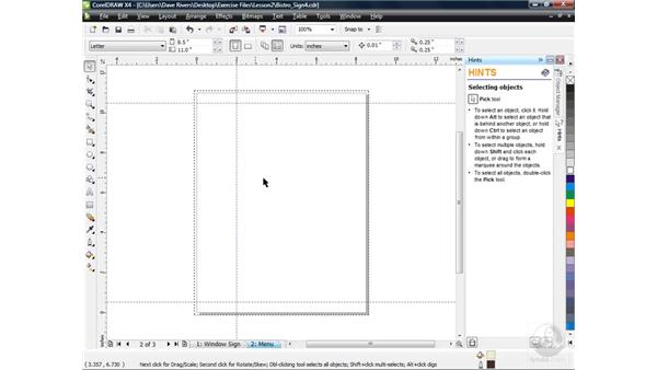Using guidelines and snap-to options: CorelDRAW X4 Essential Training