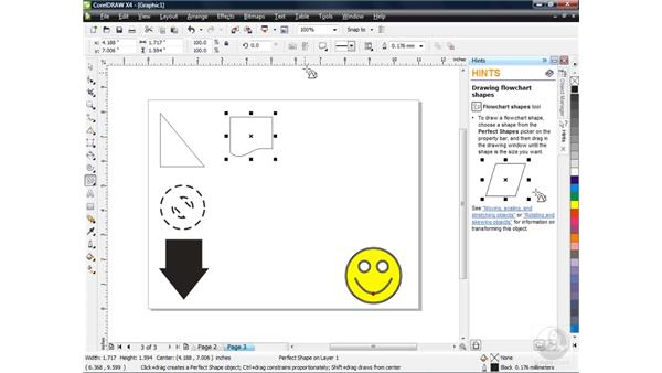 Using the Perfect Shapes collection: CorelDRAW X4 Essential Training