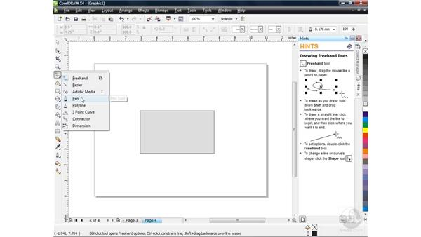 Drawing lines and curves: CorelDRAW X4 Essential Training