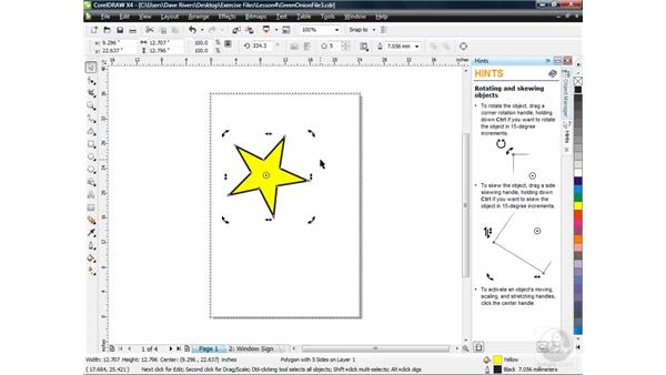 Rotating and skewing objects: CorelDRAW X4 Essential Training