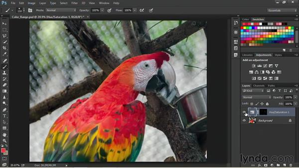 Limiting an adjustment layer based on color range: Nondestructive Exposure and Color Correction with Photoshop CC (2014)