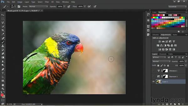 Limiting an adjustment layer based on focus: Nondestructive Exposure and Color Correction with Photoshop CC (2014)