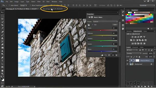 Combining Black and White adjustment layers with blend modes: Nondestructive Exposure and Color Correction with Photoshop CC (2014)