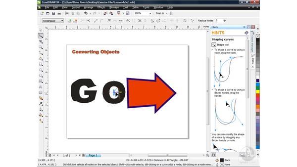 Converting objects: CorelDRAW X4 Essential Training