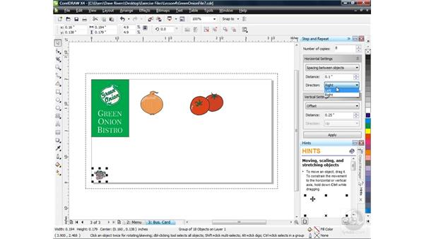 Using the Step and Repeat docker: CorelDRAW X4 Essential Training