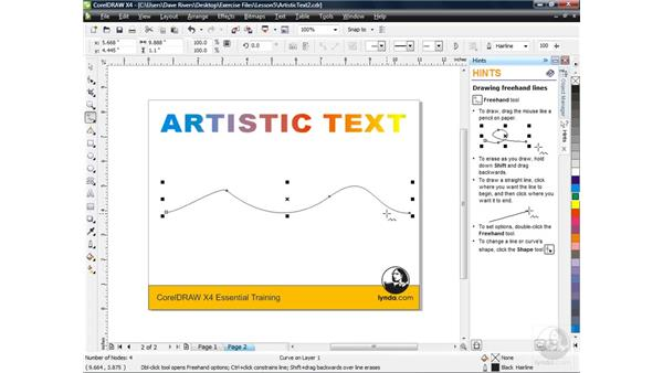 Fitting text to a path: CorelDRAW X4 Essential Training