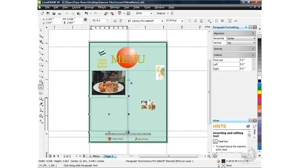Linking paragraph text frames: CorelDRAW X4 Essential Training