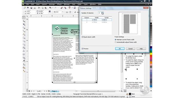 Working with columns: CorelDRAW X4 Essential Training