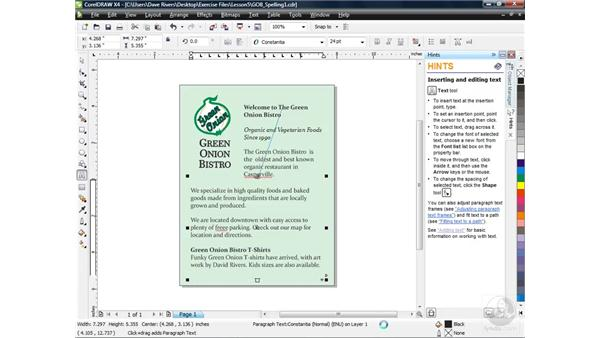 Checking spelling and using QuickCorrect: CorelDRAW X4 Essential Training