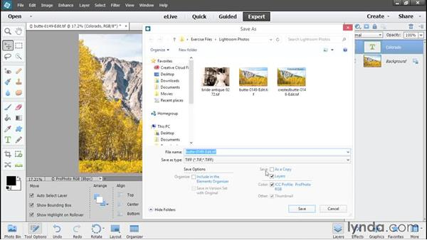 Saving from Elements back to Lightroom: Using Lightroom and Photoshop Elements Together