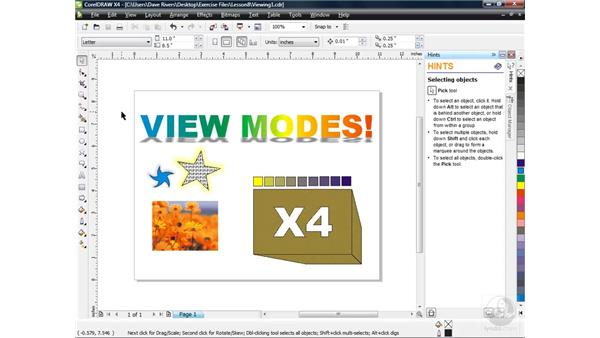 Exploring view modes: CorelDRAW X4 Essential Training