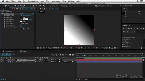 Creating a repeating timer animation: After Effects Tips and Techniques: Shapes, Text, Masks, and Path Effects
