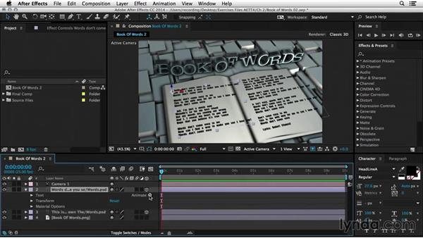 Controlling word spacing: After Effects Tips and Techniques: Shapes, Text, Masks, and Path Effects
