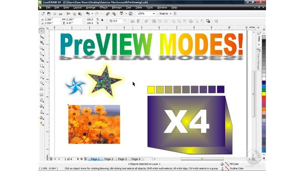 Exploring preview modes: CorelDRAW X4 Essential Training