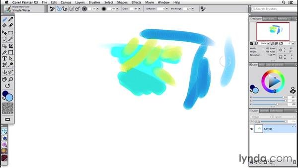 Working with digital watercolor brushes: Painter 2015 Essential Training