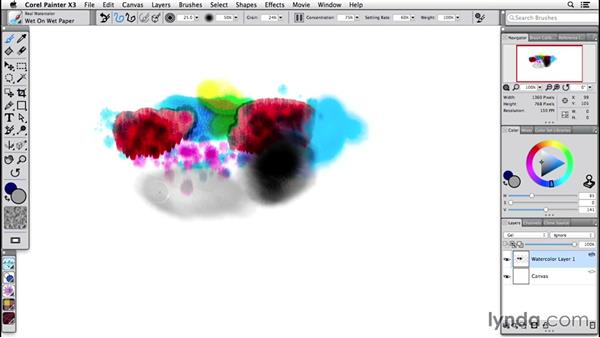 Using the real watercolor brushes: Painter 2015 Essential Training
