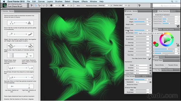 The Particle brush: The Flow Particles panel: Painter 2015 Essential Training
