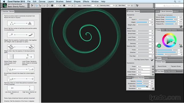 The Particle brush: The Gravity Particles panel: Painter 2015 Essential Training