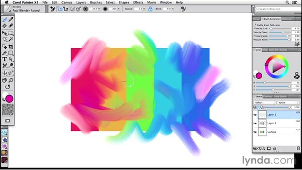 Picking up underlying color in layers: Painter 2015 Essential Training